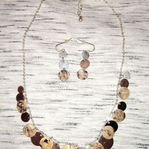 Silver multi disc necklace/Earring Set
